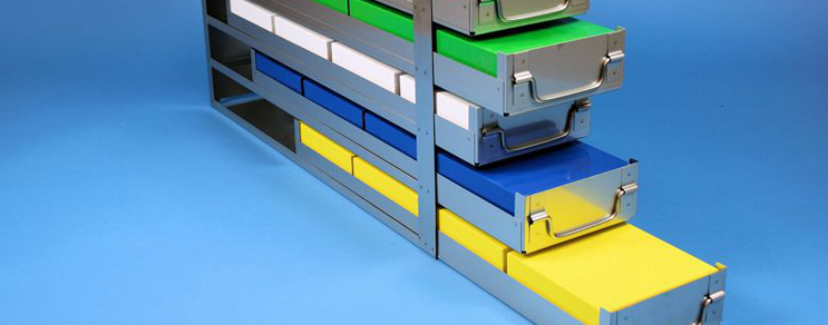 Alpha drawers racks 145 mm width open