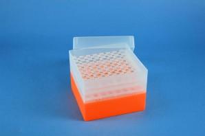 EPPi Cryo Box 105 (PP) / 8x8 holes, neon-orange, height 105 mm fix