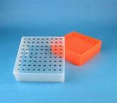 EPPi Cryo Box 75 (PP) / 9x9 grid, neon-orange, height 75 mm fix