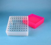 EPPi Cryo Box 75 (PP) / 9x9 grid, neon-red/pink, height 75 mm fix