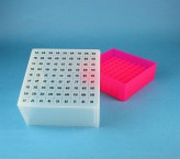 EPPi Cryo Box 95 (PP) / 9x9 grid, neon-red/pink, height 95 mm fix