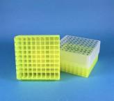 EPPi Cryo Box 75 (PP) / 9x9 grid, neon-yellow, height 75 mm fix