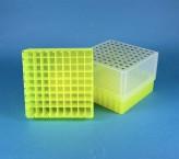 EPPi Cryo Box 95 (PP) / 9x9 grid, neon-yellow, height 95 mm fix